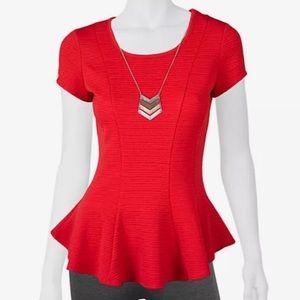 IZ Byer Red Textured Peplum Top - Juniors
